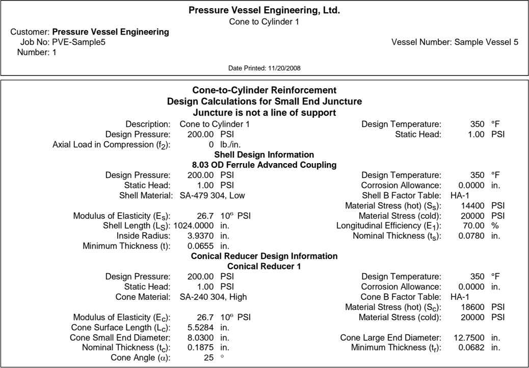 Pressure Vessel Engineering, Ltd. Cone to Cylinder 1 Customer: Pressure Vessel Engineering Job No: PVE-Sample5