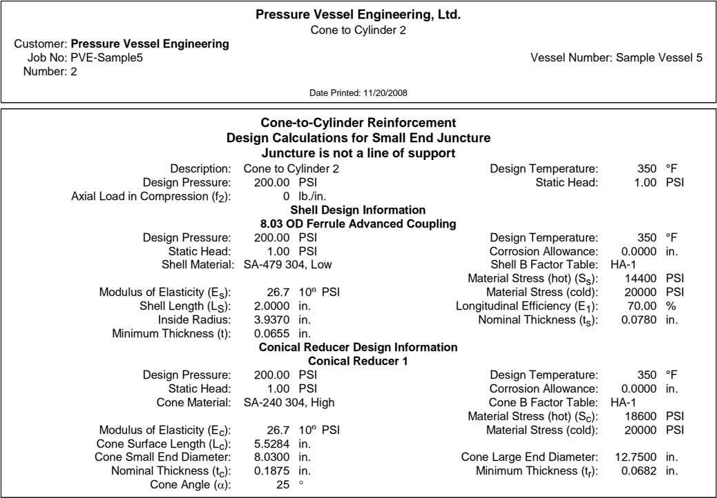 Pressure Vessel Engineering, Ltd. Cone to Cylinder 2 Customer: Pressure Vessel Engineering Job No: PVE-Sample5