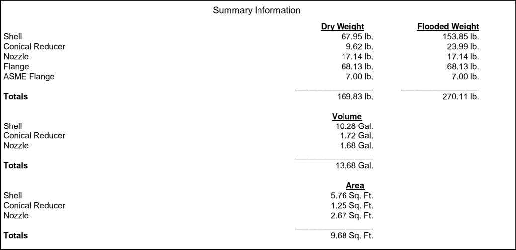 Summary Information Dry Weight Flooded Weight Shell 67.95 lb. 153.85 lb. Conical Reducer 9.62 lb.