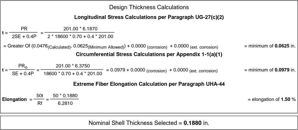 Design Thickness Calculations Longitudinal Stress Calculations per Paragraph UG-27(c)(2) PR 201.00 * 6.1870 t =