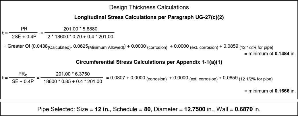Design Thickness Calculations Longitudinal Stress Calculations per Paragraph UG-27(c)(2) PR 201.00 * 5.6880 t =