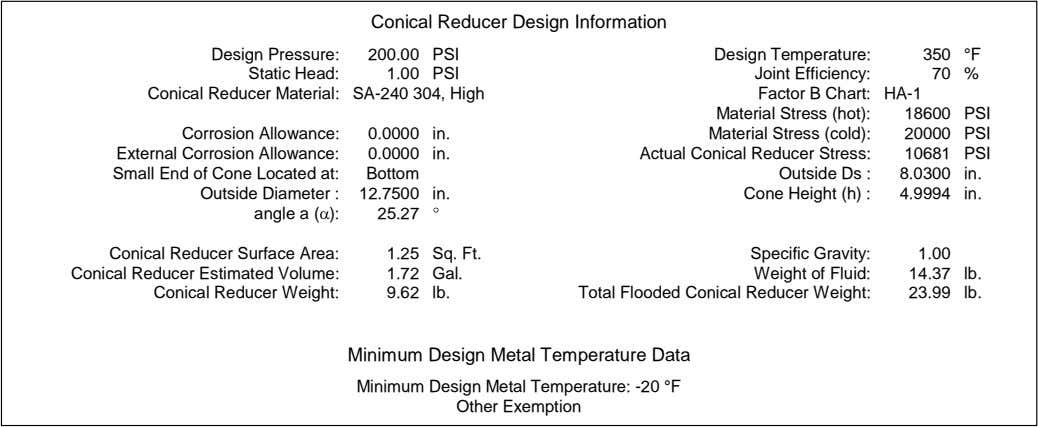 Conical Reducer Design Information Design Pressure: 200.00 PSI Design Temperature: 350 °F Static Head: 1.00