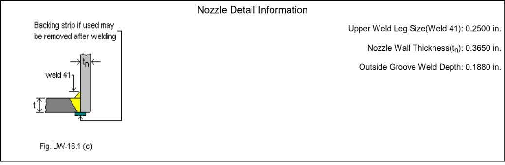 Nozzle Detail Information Upper Weld Leg Size(Weld 41): 0.2500 in. Nozzle Wall Thickness(t n ):