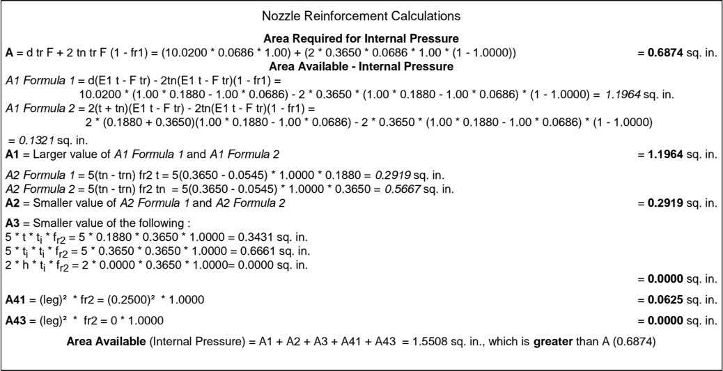 Nozzle Reinforcement Calculations Area Required for Internal Pressure A = d tr F + 2