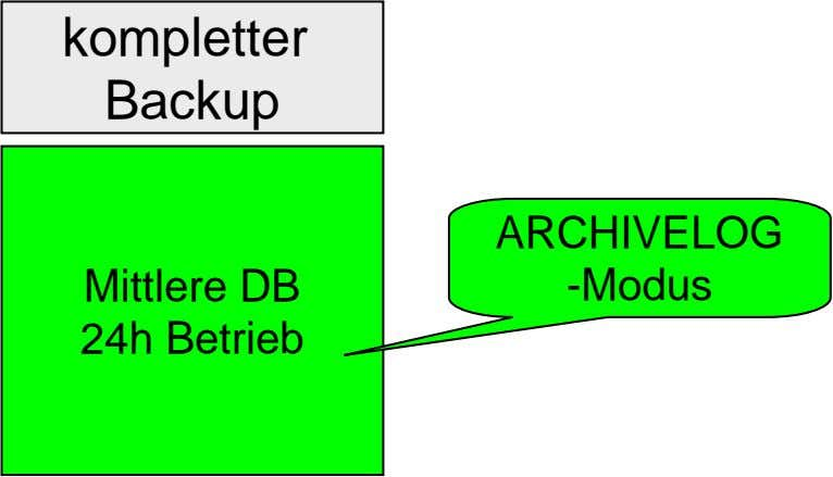 kompletter Backup ARCHIVELOG Mittlere DB 24h Betrieb -Modus
