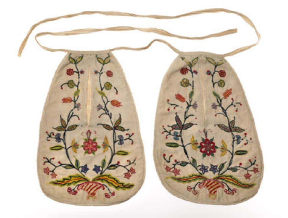 English Polychrome Wool Embroidered Linen Pockets c. 1771 - 1780 (Museum of London)