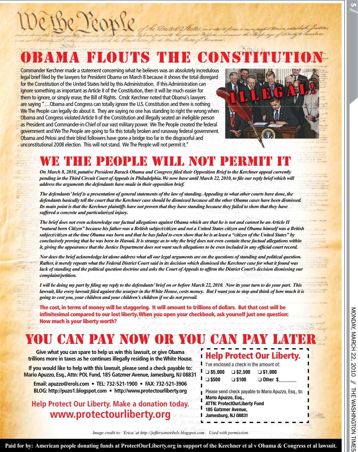 Obama Flouts The Constitution 5 // MONDAY, MARCH 22, 2010 // THE WASHINGTON TIMES Commander