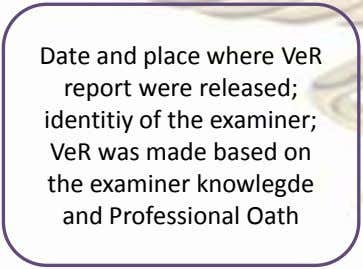 Date and place where VeR report were released; identitiy of the examiner; VeR was made
