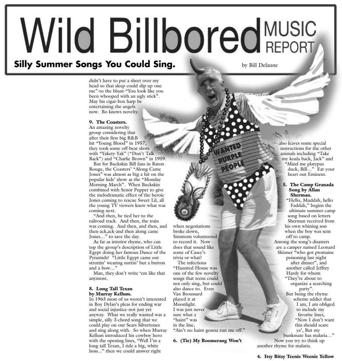 Silly Summer Songs You Could Sing. by Bill Delaune didn't have to put a sheet