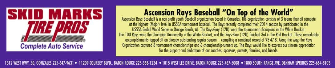 "Ascension Rays Baseball ""On Top of the World"" Ascension Rays Baseball is a non-profit youth"