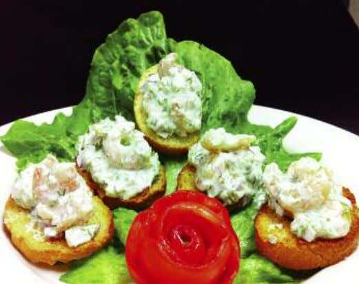 Cooking Gourmet at Home with SNO'S SEAFOOD & STEAKS Dill Shrimp Crostinis Prep Time: 20 minutes