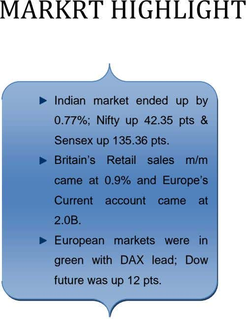 MARKRT HIGHLIGHT Indian market ended 0.77%; Nifty up 42.35 Sensex up 135.36 pts. up by pts