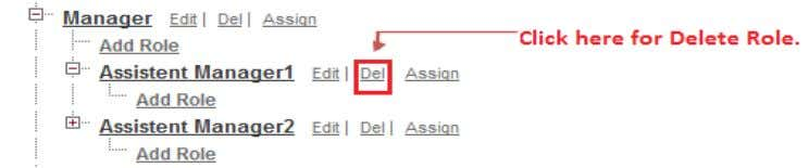 : By using Delete link you can delete Role in hierarchy. Click on Del link button