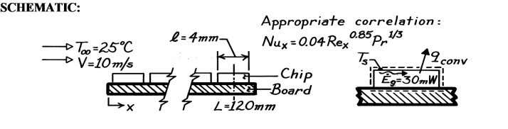 FIND: Surface temperature of the chip surface, T s . Problem: Nusselt Number (cont.) ASSUMPTIONS: (1)