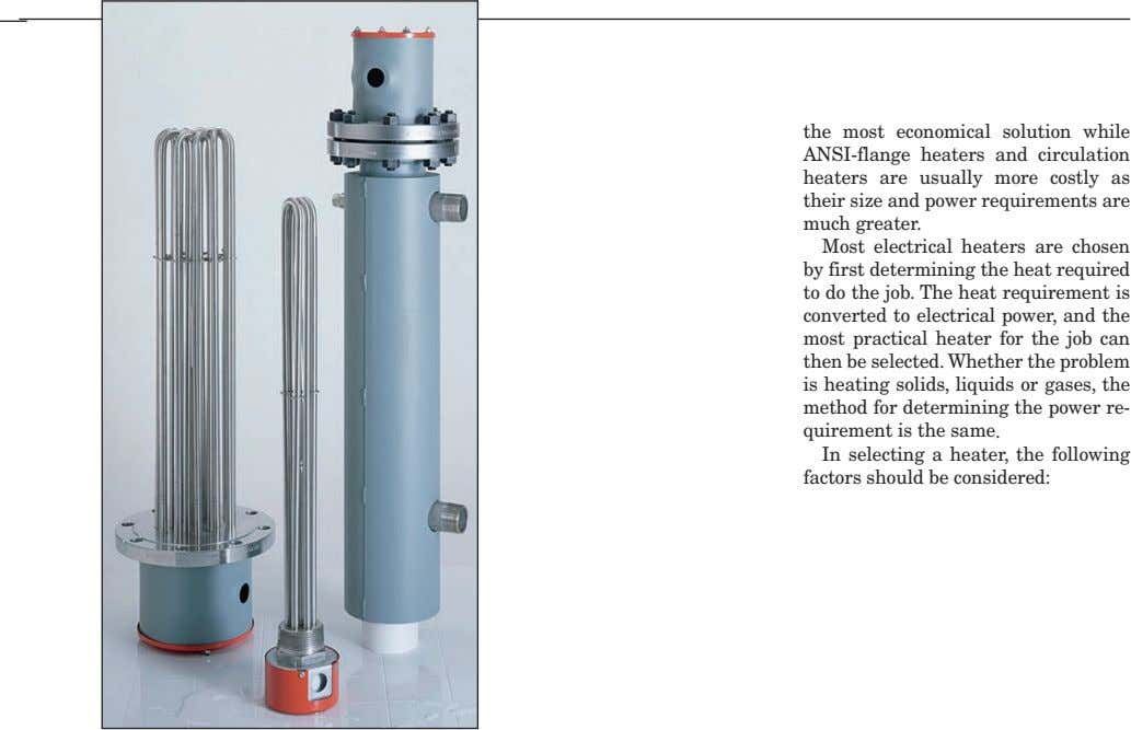 the most economical solution while ANSI-flange heaters and circulation heaters are usually more costly as