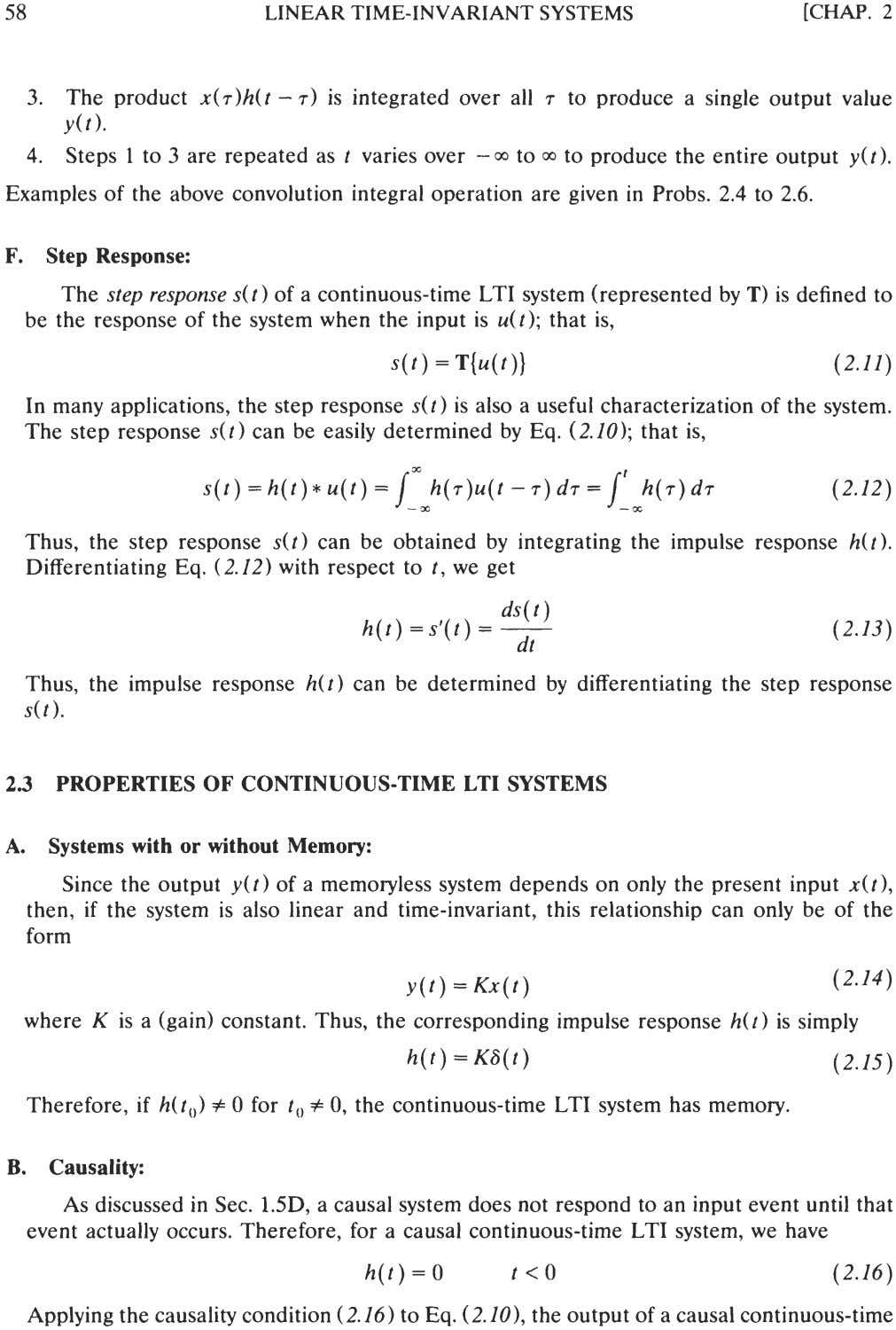 58 LINEAR TIME-INVARIANT SYSTEMS [CHAP. 2 3. The product x(~)h(t- T) is integrated over all