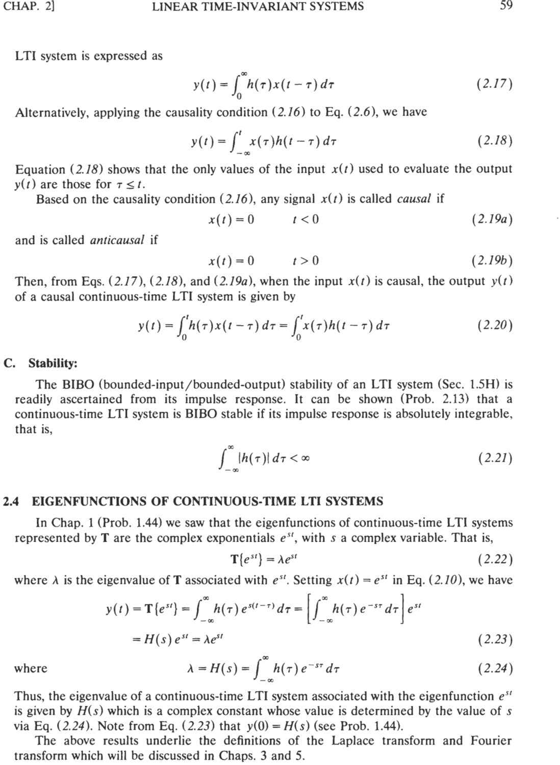 CHAP. 21 LINEAR TIME-INVARIANT SYSTEMS LTI system is expressed as Alternatively, applying the causality condition