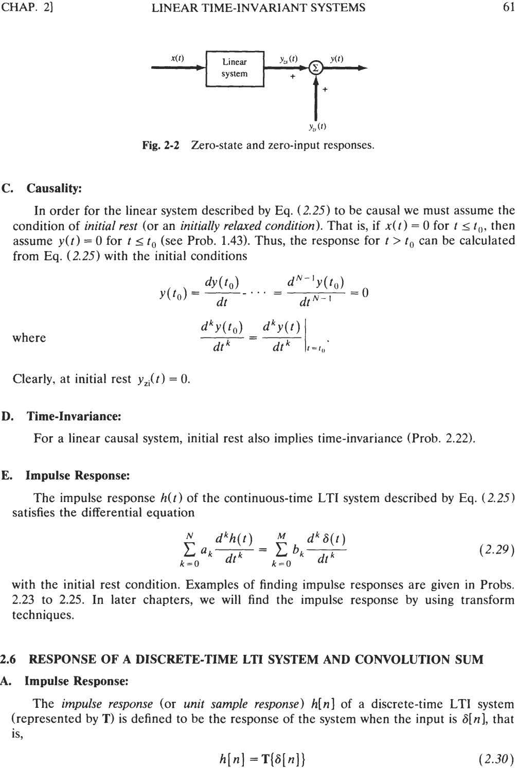 CHAP. 21 LINEAR TIME-INVARIANT SYSTEMS Y,(O Fig. 2-2 Zero-state and zero-input responses. C. Causality: In