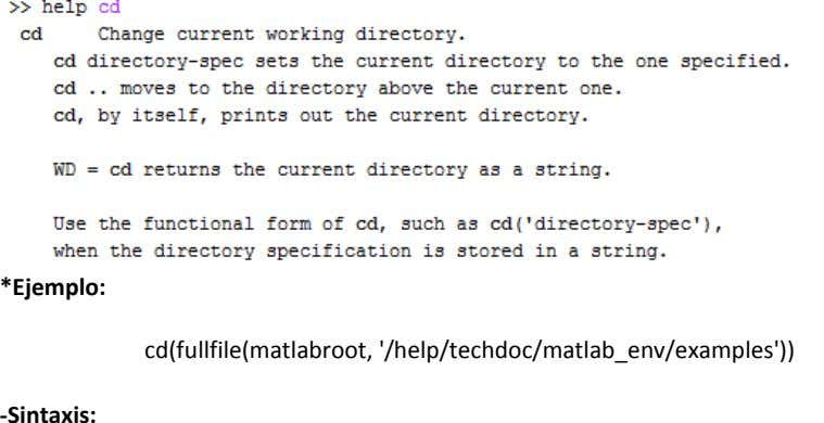 *Ejemplo: cd(fullfile(matlabroot, '/help/techdoc/matlab_env/examples')) -Sintaxis: