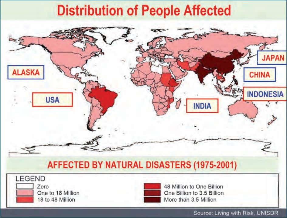 Figure 1.3: Distribution of People Affected An Overview 1.6.3 Disaster events which have occurred between 1900-2009