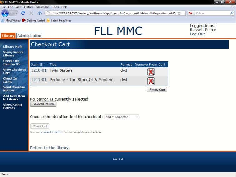 Figure 1.5 The Checkout Cart 1.1.2 Viewing Item Details From several pages where item IDs