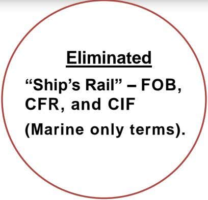 "Eliminated ""Ship's Rail"" – FOB, CFR, and CIF (Marine only terms)."