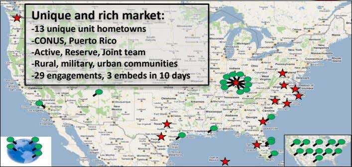 Unique and rich market: -13 unique unit hometowns -CONUS, Puerto Rico -Active, Reserve, Joint team