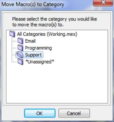 Macro Express Explorer > Macros > Move to Category You can also use the menu commands