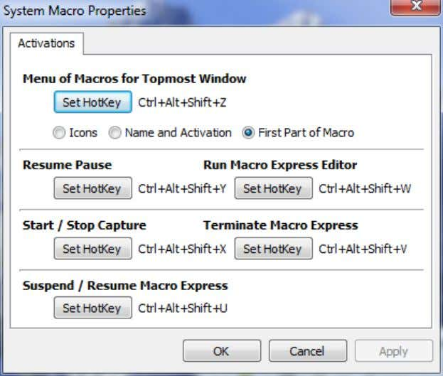 System Macros Macro Express Explorer > Right Click on System Macro > Left Click on Properties