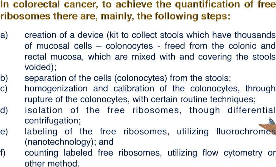 COLORECTAL CANCER ( CRC ) PREPARATION AND COUNTING OF FREE RIBOSOMES