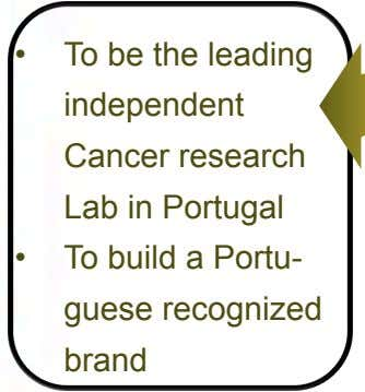 •   To be the leading independent Cancer research Lab in Portugal •   To
