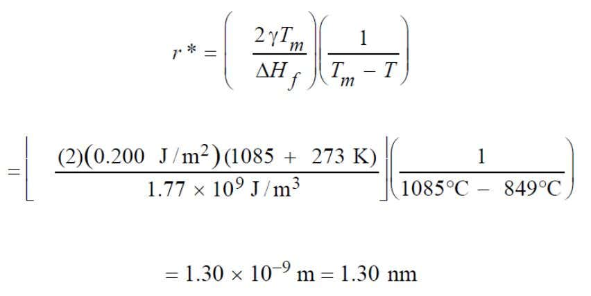 J/m 3 ) and the surface free energy (0.2 J/m 2 ). Question 2 : (a)