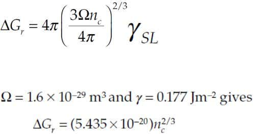 a cluster containing n c atoms with an atomic volume Ω we have Therefore the expression