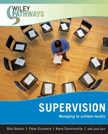 Supervision Chapter 1 : Supervision