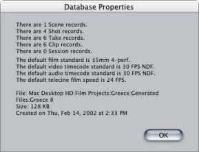 > Database Properties. m Press Command-I. Dialogs in Final Cut Pro and Cinema Tools The following