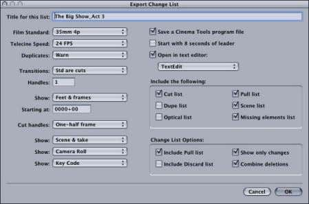 sequence, rather than just information about the changes. To open the Change List dialog from within