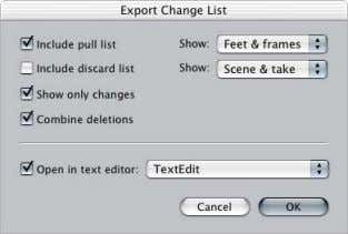 "In Cinema Tools, choose File > Export > Change List. See "" Creating Change Lists """