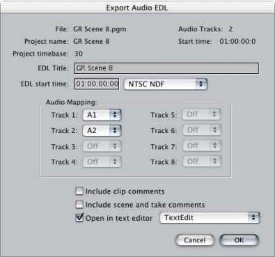 "use, then click Open. The Export Audio EDL dialog appears. See "" Exporting an Audio EDL"