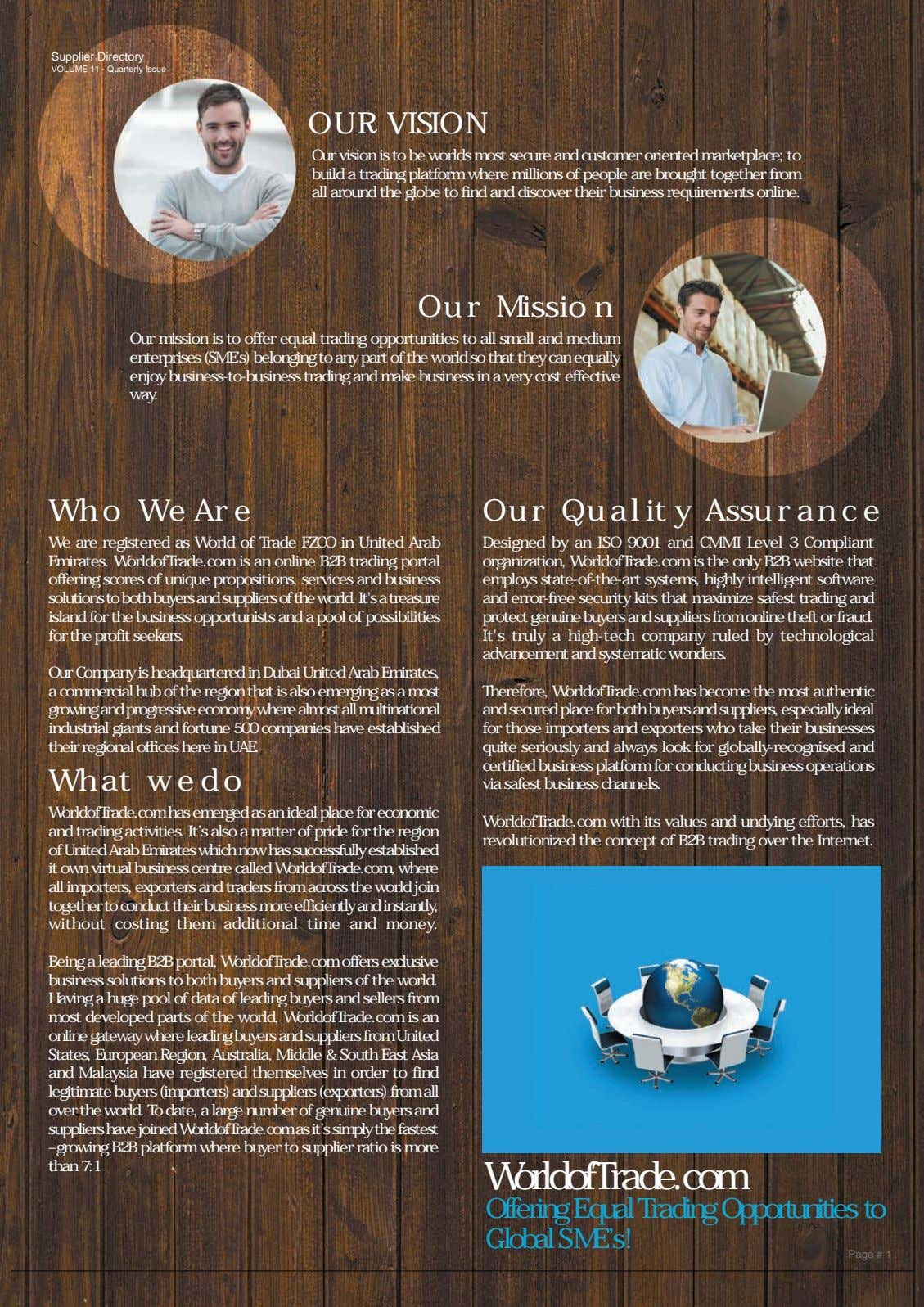 Supplier Directory VOLUME 11 - Quarterly Issue OUR VISION Our vision is to be worlds most