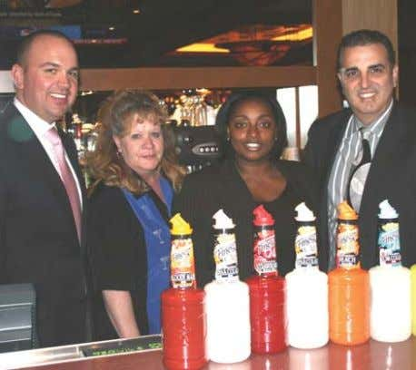 POUR OF THE MONTH LTR: Adam Bullock, The Brassiere mgr., Kathy Walker, Bartender, Pebbles Johnson, Beverage