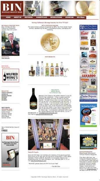 BEVERAGE INDUSTRY NEWS BIN ONLINE www.binonline.net Go online and discover a wealth of resources at your
