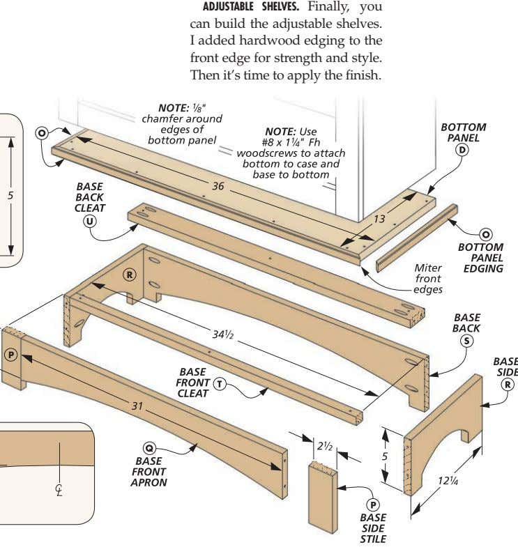 ADJUSTABLE SHELVES. Finally, you can build the adjustable shelves. I added hardwood edging to the