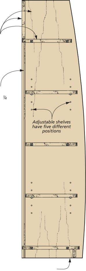 "!/4 "" Adjustable shelves have five different positions"