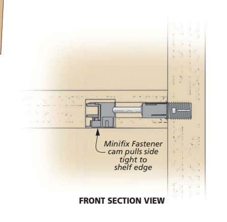 Minifix Fastener cam pulls side tight to shelf edge FRONT SECTION VIEW