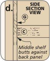 SIDE d. SECTION VIEW G C Middle shelf butts against back panel