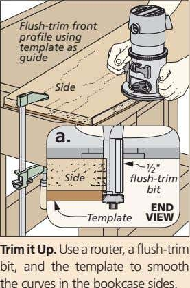 "Flush-trim front profile using template as guide Side a. !/2 "" Side flush-trim bit END"