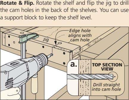 Rotate & Flip. Rotate the shelf and flip the jig to drill the cam holes