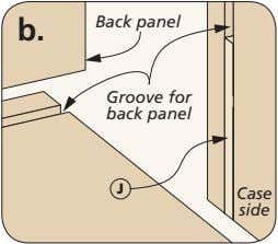 b. Back panel Groove for back panel J Case side