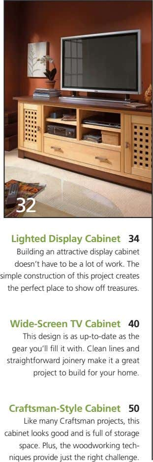 32 Lighted Display Cabinet 34 Building an attractive display cabinet doesn't have to be a