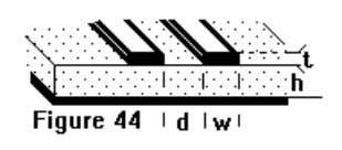 between parallel surface conductors. (Microstrip.) Figure 44 shows a cross section of the lines under